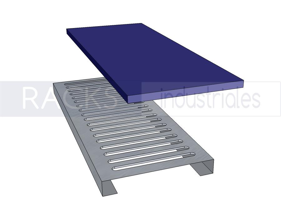 Racks industriales - detalle tablillas de piso opaca y traslúcida